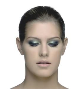 sombra verde com boca nude